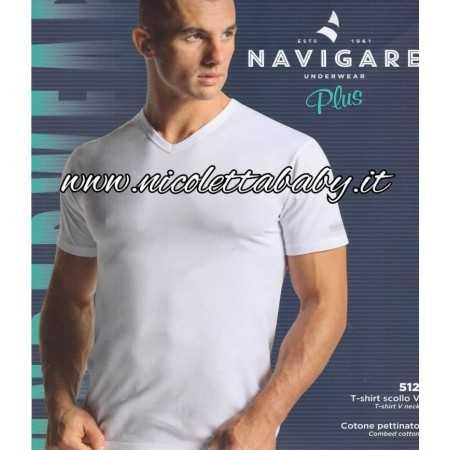 T-Shirt MM Scollo V Cotone Pettinato 512 Navigare